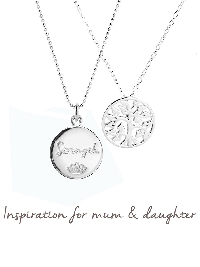 Mantra Jewellery Spiritual necklaces Silver Mum & Daughter Female Strength & Family Tree Necklace Set