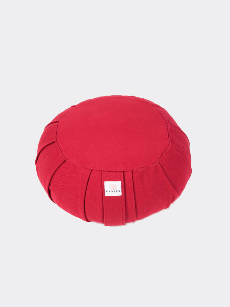 Organic Cotton Round Meditation Cushion - Burgundy