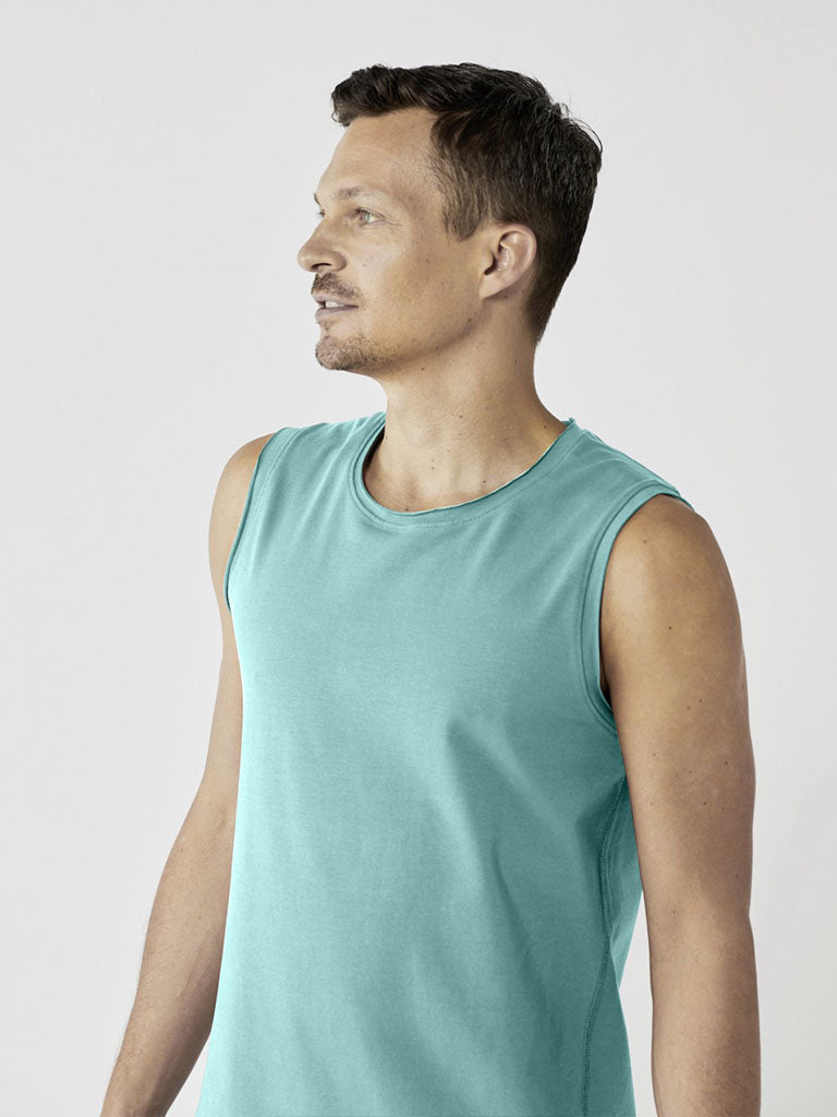 Organic Men's Yoga Tank - Sea Green - Lotuscrafts - £44.95