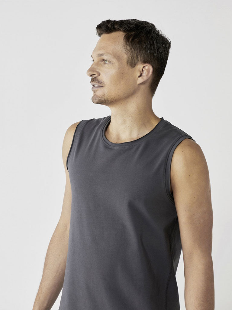 Organic Men's Yoga Tank - Graphite Grey - Lotuscrafts - £44.95