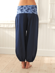 Bubble Organic Harem Yoga Pants - Dark Blue - Pawpaw Yoga Wear - £49.00
