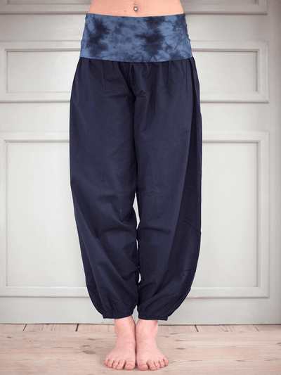 Bubble Organic Long Yoga Pants - Dark Blue - Pawpaw Yoga Wear - £46.00