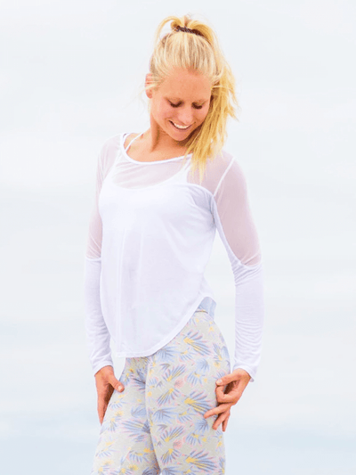 SoloSol Movement Long Sleeve Tops Gypsy Long Sleeve Yoga Top - Cloud White