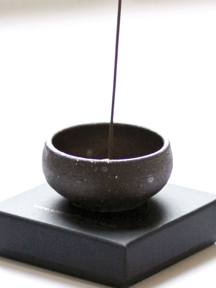 UME Incense  Black Handmade Wabi Sabi Stoneware Incense Bowl