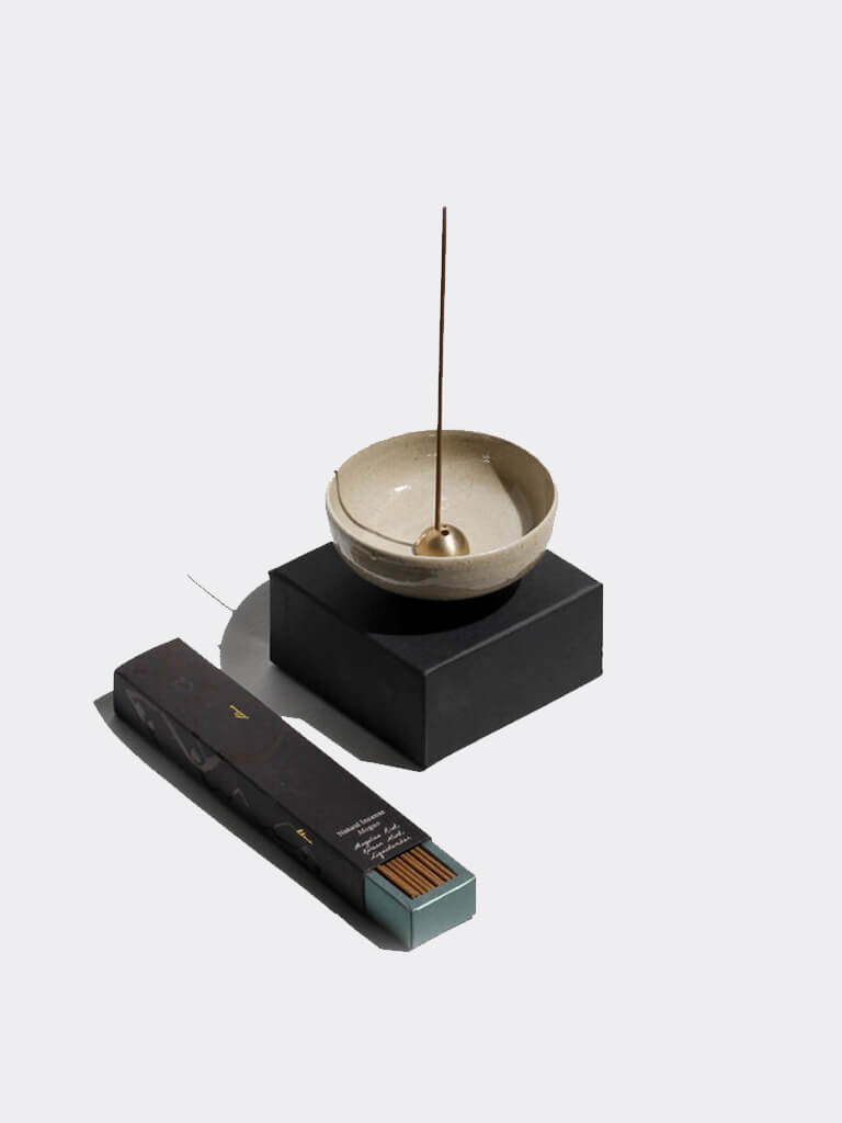 Natural Stoneware Incense Stick Holder & Bowl