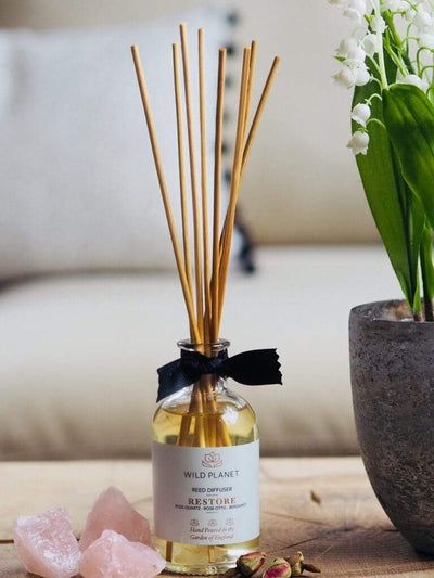 Wild Planet Diffusers Restore - Crystal Infused Reed Diffuser with Rose Quartz