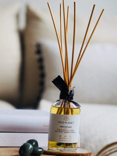 Wild Planet Diffusers Revitalise - Crystal Infused Reed Diffuser with Green Moss Agate & Quartz