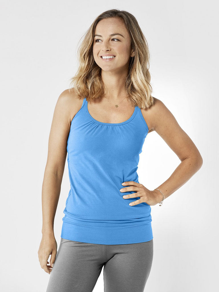 Organic Yoga Vest Top - Lightning Blue