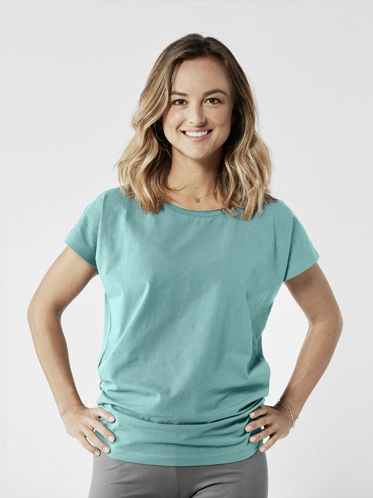 Organic Yoga Shirt - Sea Green - Lotuscrafts - £39.95