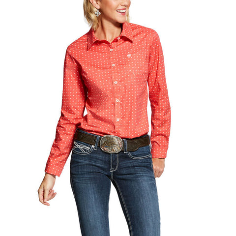 Ariat Womens Kirby Coral Thunderbird Long Sleeve