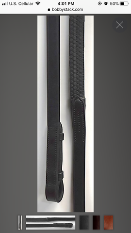 Bobby's English Tack Flat Rubber Reins with Leather Ends
