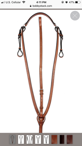 Bobby's English Tack Round Raised Fancy Stitched Breastplate