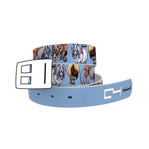 C4 Thelwell Blue Ponies Classic Belt / Khaki Buckle