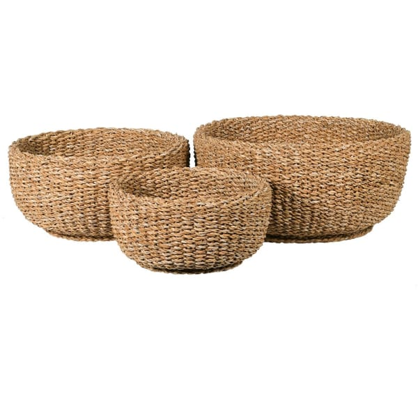 Set of 3 Round Woven Baskets