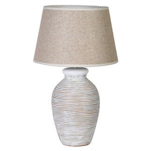 White Washed Ring Lamp with Shade