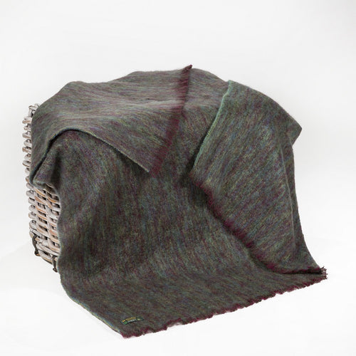 John Hanly Throw - Mohair Throw Dark Purple & Green Plain