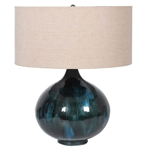 Lagoon Blues Enamel Lamp with Shade