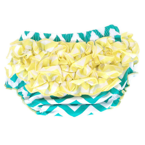 Bloomers - Teal with Yellow Ruffles - Minted Lane