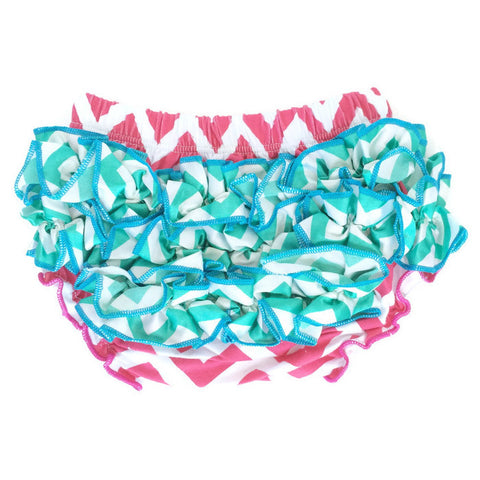 Bloomers - Hot Pink with Teal Ruffles - Minted Lane