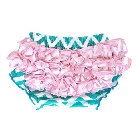 Bloomers - Teal with Pink Ruffles - Minted Lane