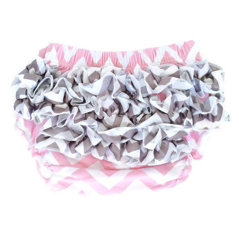 Bloomers - Pink with Gray Ruffles - Minted Lane