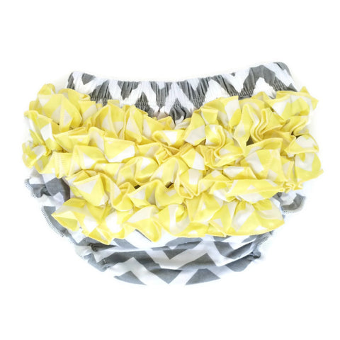 Bloomers - Gray with Yellow Ruffles - Minted Lane