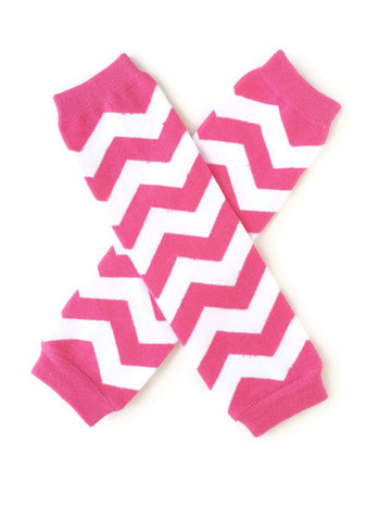 Chevron Leg Warmers - Hot Pink - Minted Lane