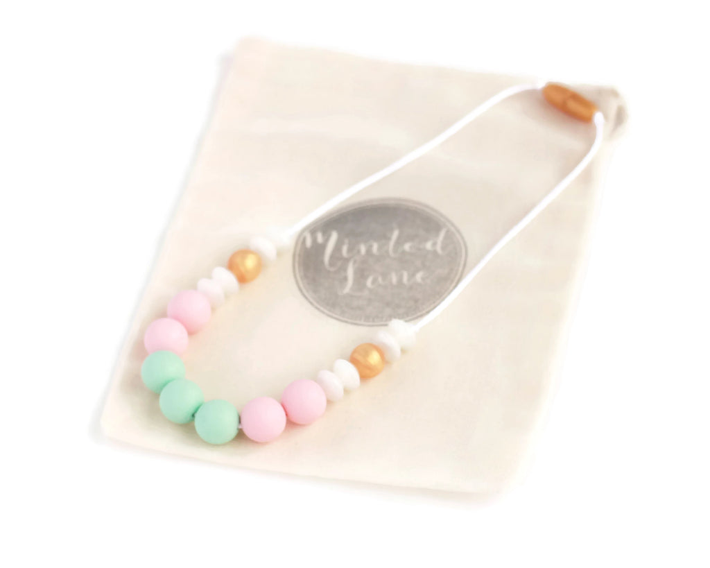 Abby Silicone Teething Necklace - Minted Lane
