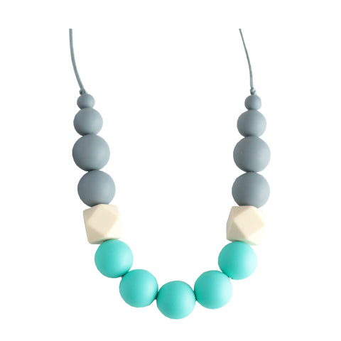 Georgia Silicone Teething Necklace - Gray, Cream & Turquoise - Minted Lane