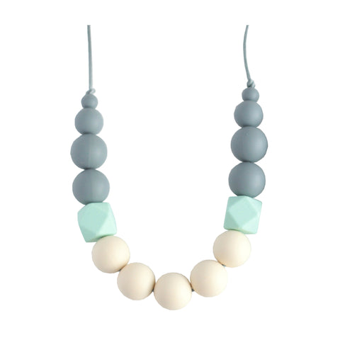Georgia Silicone Teething Necklace - Gray, Mint & Cream - Minted Lane