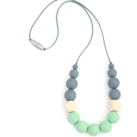 Georgia Silicone Teething Necklace - Gray, Cream & Mint - Minted Lane
