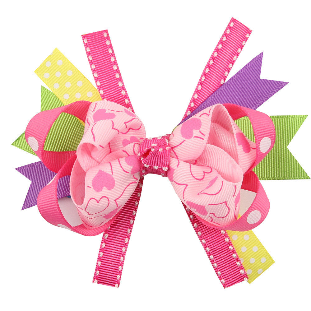"3"" Grosgrain Hair Bow - Pink Hearts - Minted Lane"