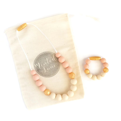 Zoe Silicone Teething Necklace & Bracelet Set - Peach, Gold & Cream