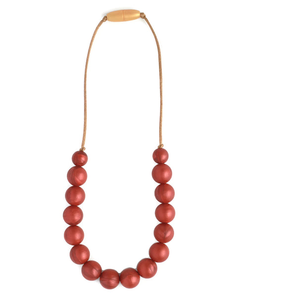 Zoe Silicone Teething Necklace - Scarlet Red