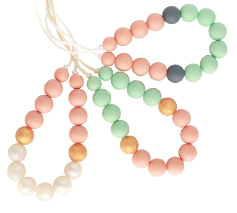 Zoe Silicone Teething Necklace - Dusty Peach