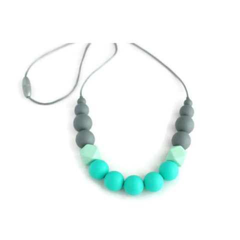 Georgia Silicone Teething Necklace - Gray, Mint & Turquoise - Minted Lane