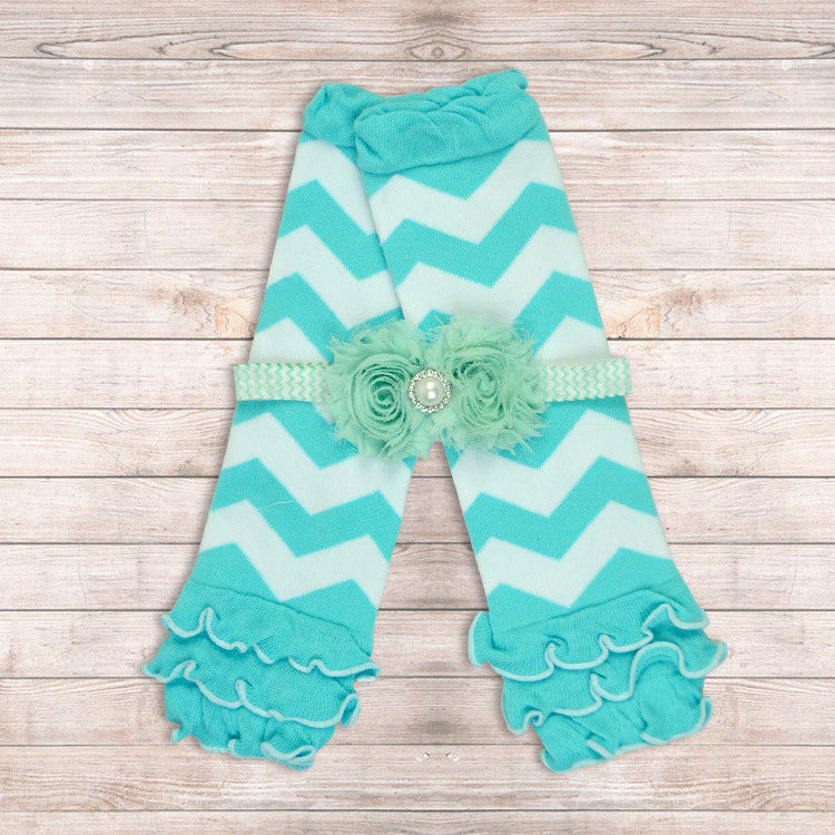 Aqua Leg Warmers + Headband Set - Minted Lane
