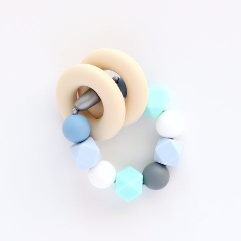 Silicone Teething Ring and Bracelet - Blue and Aqua - Minted Lane