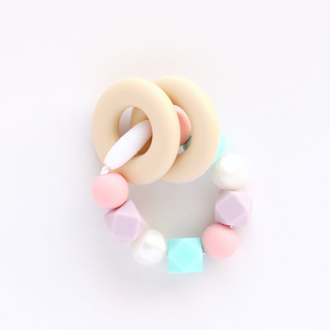Silicone Teething Ring and Bracelet - Lilac and Aqua - Minted Lane