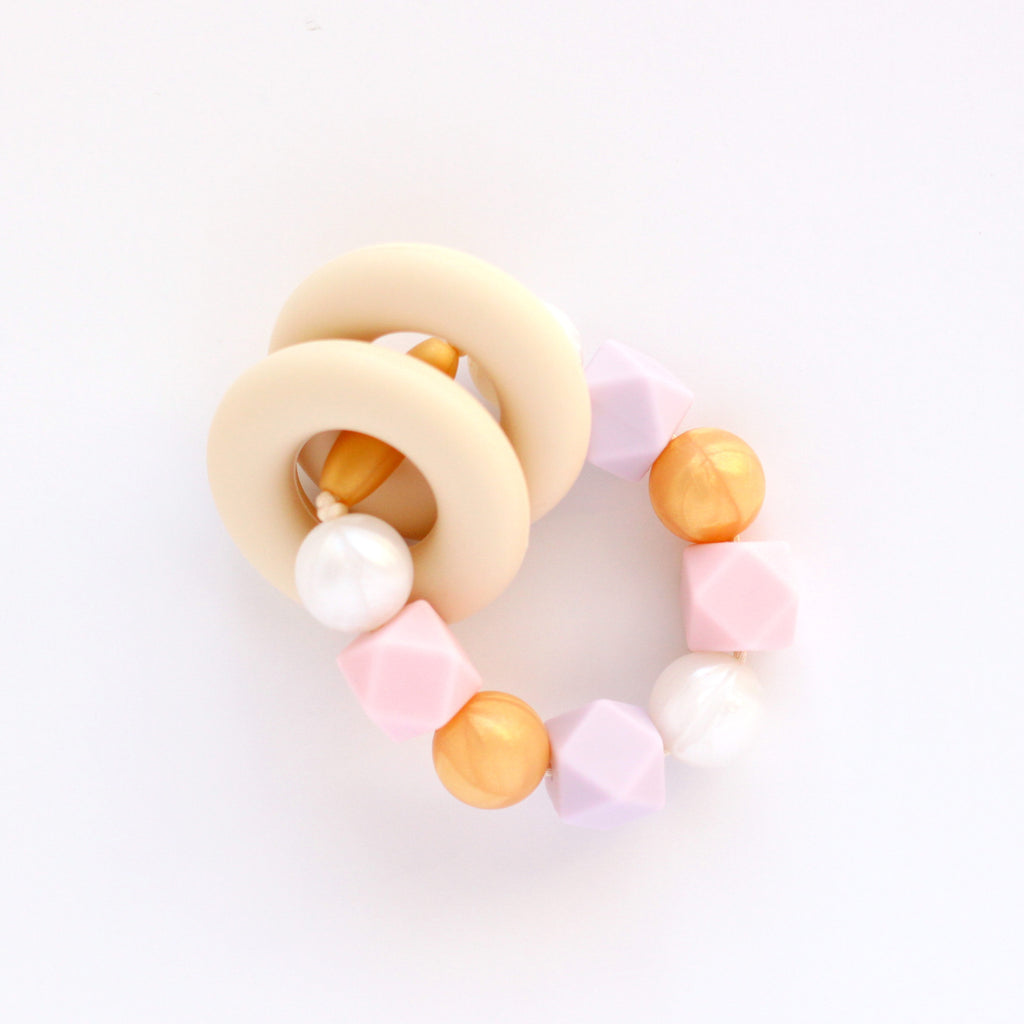 Silicone Teething Ring and Bracelet - Pink and Lilac