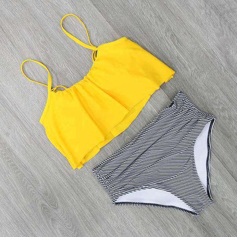 Image of High Waist Halter Bikini Set