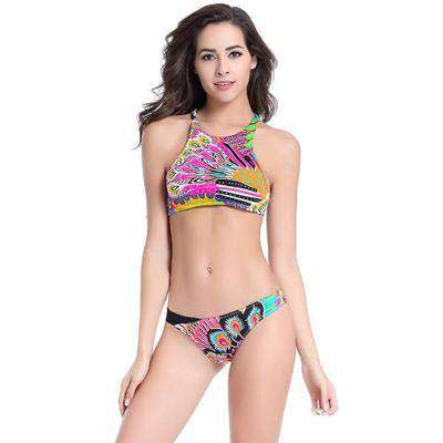 Peacock Pattern Push Up Bikini Set