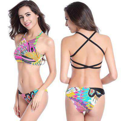 Image of Peacock Pattern Push Up Bikini Set