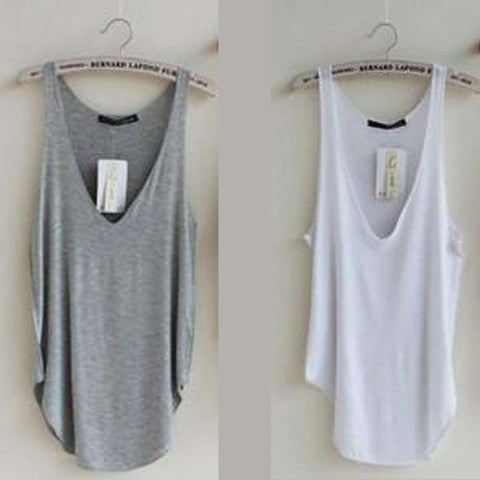 Image of Loose Design Deep V Neck Tank Top - Modal Sleeveless