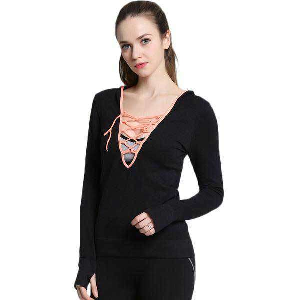 Cross String V Neck Hoodie