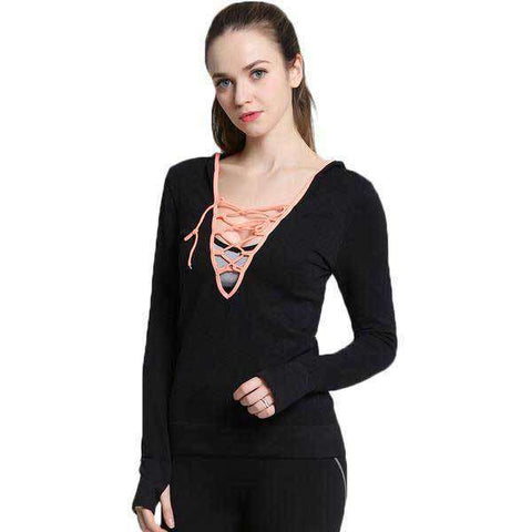 Image of Cross String V Neck Hoodie