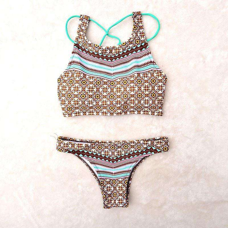 Padded Striped Bikini with Unique Back Strap Design