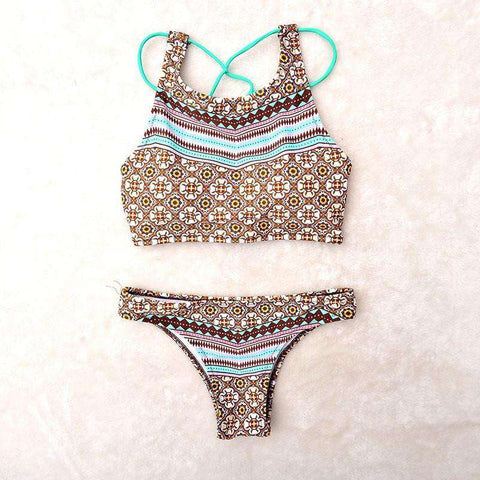 Image of Padded Striped Bikini with Unique Back Strap Design