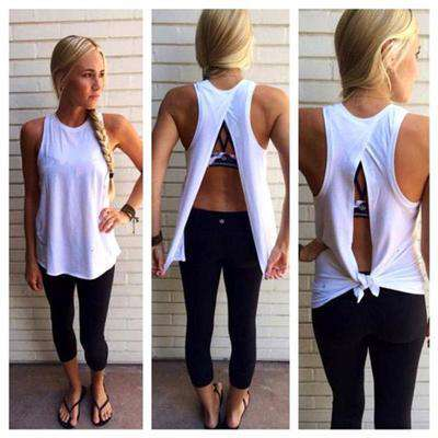 Image of Back Tie Fitness Top