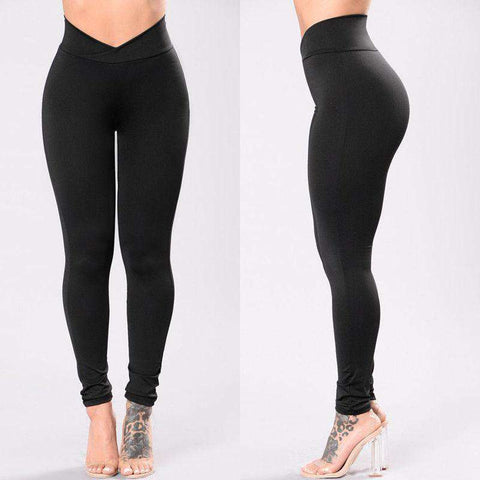 Image of Elastic Waist Plunge Leggings